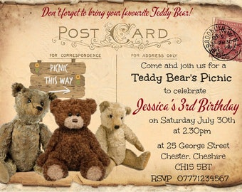 4x Tattered Post Card Teddy Bear's Picnic Personalised Invitations & Envelopes