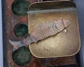 Antique brass plate, embellishment, part, Fish