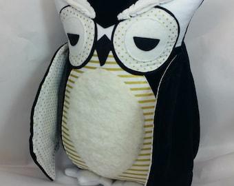 Large Owl Black White and Gold Plush Velveteen Pillow