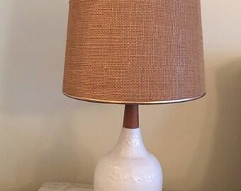 mid century modern white ceramic wood table lamp 1950s white table lamp on sale