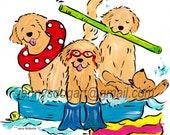 Golden Retriever Pool  NEW t shirt