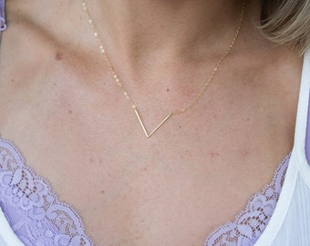 Dainty Thin V Shaped Necklace, Gold Triangle Choker, Delicate Gold or Silver Necklace, Chevron Necklace, Small Triangle Necklace