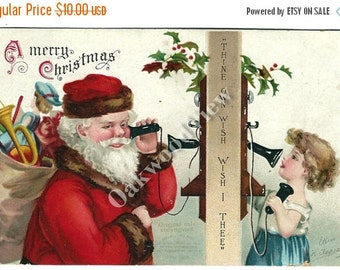 20% OFF Clapsaddle Santa Claus & Little Girl Telephone Call Christmas Postcard, Toys, Antique 1908 Embossed Holiday Ephemera, FREE SHIPPING