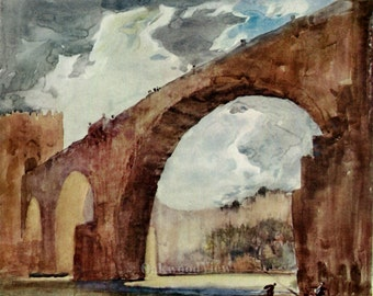 Toledo Spain St. Martin Bridge Print by Frank Brangwyn, War Bridge, Antique 7x10 Watercolor Bookplate Art c1915, FREE SHIPPING