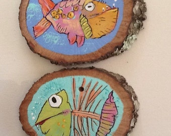 Fish painted on wood slices Free Shipping