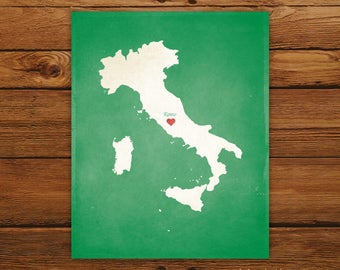 Customized Italy 8 x 10 Country Art Print, Country Map, Heart, Silhouette, Aged-Look Print