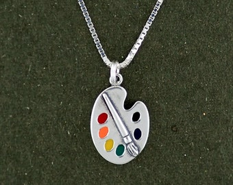 Sterling Silver Art Paint Palette Charm Pendant Necklace Multicolor with 18 Inch Box Chain