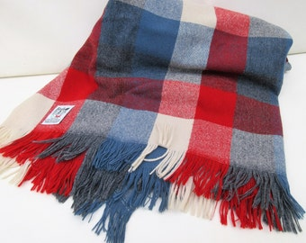 Vintage Stadium Blanket | Lap Throw | Faribo Blanket | Wool Fabric | Red White and Blue
