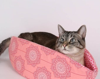 Spring Sale Pink Flower pet bed - the Cat Canoe is modern kitty furniture made in Riley Blake fabrics