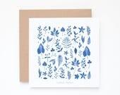 Set of 3 Watercolor Botanical indigo leaves Greeting Cards