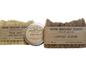 Natural Soap Gift Set - Hand Balm - Beer Soap - Hand Soap - Hand Scrub - Coffee Soap - Coffee Scrub - Soap for hands - Kitchen sink soap