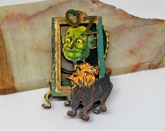 Wizard of Oz,  Oz Brooch Pin, Toto in Oz Pin, Wizard and Toto Brooch Pin, Oz Jewelry