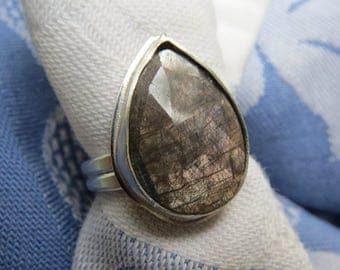 Lavender Gray Rose Cut Sapphire Teardrop in Argentium Ring Size 7 & a Quarter
