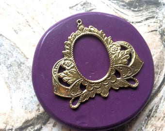 Oval Floral Frame flexible silicone mold / mould