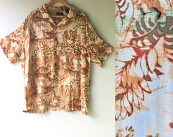 OCEAN PACIFIC Hawaiian Shirt // XXL // Silk