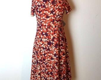 ON SALE Vintage original 1970s orange and purple floral nylon midi dress, floral A line dress
