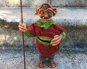 Mushroom Grimmsmen - 12 inch OOAK Posable Art Doll Sculpture - Shelf Troll Elf Gnome Fairy Fae Polymer Clay Handmade One of a Kind Sculpture