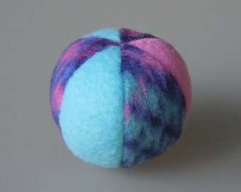 Little Fleece Catnip Ball Cat Toy Aqua Pink and Plaid