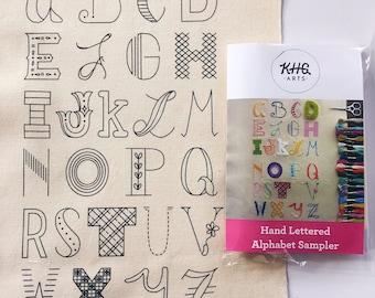 Hand Lettered Alphabet Sampler. Printed Pattern.