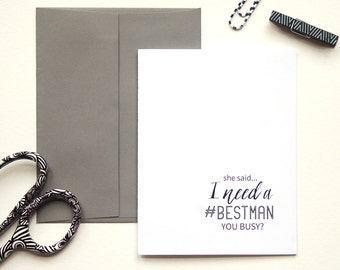 Will You Be My Best Man, Asking Groomsmen, Usher, Personalized Wedding Card, Wedding Stationary, Best Man Proposal, Set of 1