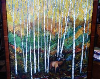 "Whistling Elk among the birch trees:  Custom framed 22""x28"" wildlife painting elk decor elk wall art lodge art man cave"