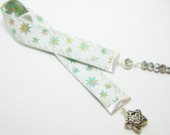 Stars Ribbon Bookmark Shooting Star Foil Ribbon Rainbow Czech Rondelles Celestial Bookmark 109B