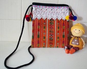 Vintage pompom Sling Bag, Embroidered Crossbody Vintage Thai Bag, Recycle Hmong Shoulder Bag, Hilltribe Ethnic Crossbody bag