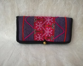 Hmong Vintage Wallet, Thai Zippered Pouch, Small Boho Clutch, Tribal Coin Purse, Embroidered Mini Purse