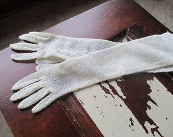 Vintage Max Mayer & Co.Inc. Ivory Lace Gloves - 1950's