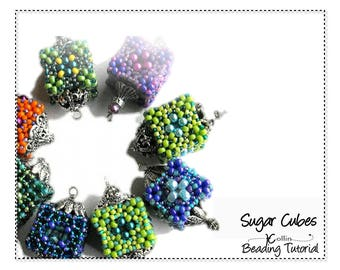 Beading Pattern, Instructions, Tutorials, Small, Hollow, Cubic Right Angle Weave Cube Pendant Instant Download Pattern SUGAR CUBE