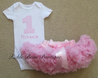 Girls First Birthday Outfits, Pink White Candy Polka Dot, Personalized Bodysuit Shirt, Baby Girl 1st Birthday Outfit, Pink Pettiskirt
