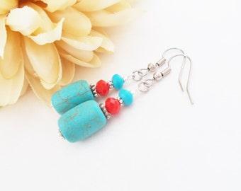 Turquoise and Red Earrings, Boho Dangle Earrings, Summer Outdoors, Blue Red Earrings, Bohemian Earrings, Chunky Earrings, Clip On Earrings