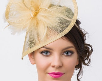 """Champagne Gold Fascinator - """"Victoria"""" Champagne Gold Twist Mesh Fascinator Hat Headband with Flighty Feathers"""
