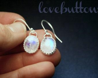 Traveler's Moon - Moonstone earrings (Lace Bezel)