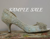 Sample Sale .. Something Blue Wedding Shoes.  US Size 7.5 EU 38 . Pale Blue Lacy Shoes . Wedding Shoes . Bridal Shoes . Rhinestone Shoes