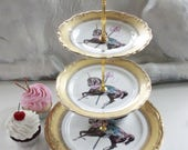 Gold or silver Unicorn Cake Stand, 2 or 3-Tiered, Unicorn Cupcake Stand, Unicorn China, Unicorn Plates, Foodsafe and Durable, Unicorn Dishes