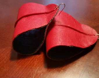 Leather and denim earrings, two toned. (Larger size)