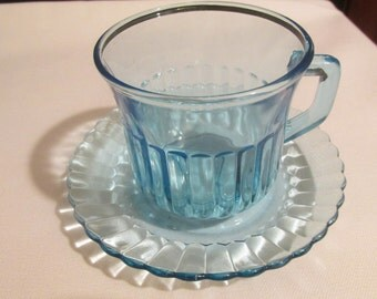 Vintage Fortecrisa Ice Blue Glass Coffee / Tea Cup