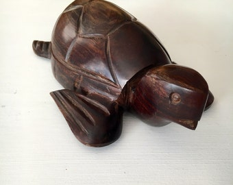 LARGE Vintage Ironwood/Rosewood Handcarved Sea Turtle - Beautiful Woodgrain - Perfect Holiday Gift for any turtle lover!