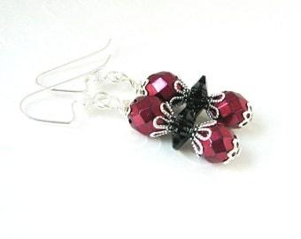 Red and Black Earrings, Beaded Small Drop Earrings, Czech Fire Polished Bead Earrings, Red Fancy Beaded Drop Earrings