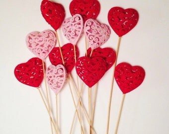 12 Flocked Heart Plant Sticks, Valentine's Day Centerpiece, Wedding Centerpiece, Plant Sticks, Valentine's Day Party, Hearts