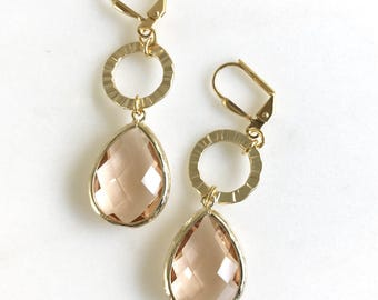 Holiday Dangle Earrings with Gold Circle Champagne Stones.  Holiday Drop Earrings. Jewelry Gift for Her. Peach Wedding Earrings. Chandelier.