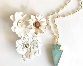 Aqua Amazonite Slice Necklace. Mint Arrowhead Pendant Necklace. Mint Pink Jewelry. Layering Necklace. Gift. Slice Geode Long Necklace.