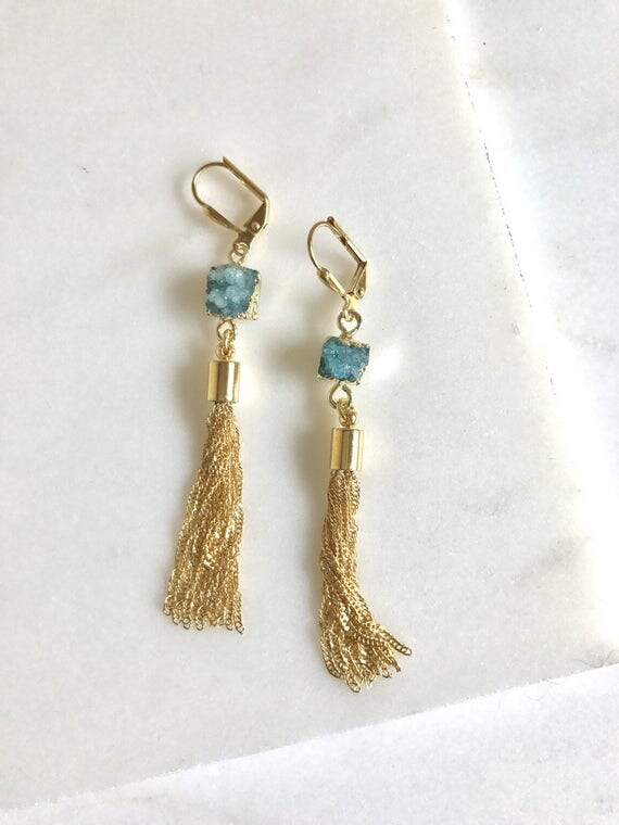 Turquoise Druzy and Gold Tassel Earrings.  Drop. Dangle. Gold Tassel Jewelry. Turquoise Jewelry. Jewelry Gift.  Dangle Earrings. Gift for He