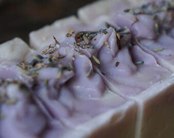 Lavender Scented Soap Handmade Luxury Bar Soap with a purple swirl and topped with lavender buds Artisan Bath Bar with Silk Cold Process Bar