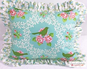 Emma Mockingbird Ruffled Pillows: Std Sham, Euro Sham, and Various Size Pillows Available