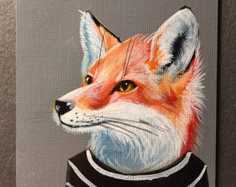 Red Fox portrait on a playing cards. 2016