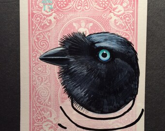 Raven portrait on a playing cards. 2017