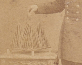 Rare CDV photo set from Alchemist photographer of French Military Carpenter / Architect with his Model