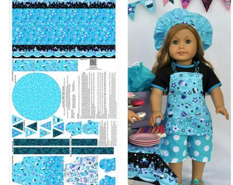 Andover Fabrics. Doll Cupcake Apron Panel Blue ***For an 18 inch doll - makes an apron, oven mitts, and table runner